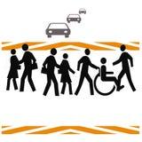Crosswalk safety. Pedestrians crossing a busy street illustration white background vector illustration