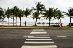 Crosswalk on the seafront. Сrosswalk across the street on the seafront in Danang, Vietnam Royalty Free Stock Photos