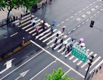 Crosswalk in Shanghai. Shot taken in Shanghai, China, Asia, 2013 Royalty Free Stock Photos