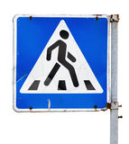 Crosswalk sign. Pedestrian crossing road sign isolated on a white background stock photos