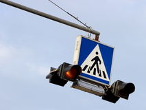 Crosswalk sign light Royalty Free Stock Image
