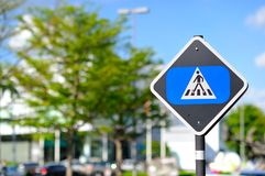 Crosswalk signage. Crosswalk sign with the blue sky Stock Images