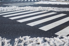 Crosswalk with snow in,Yokohama, Tokyo, Japan Stock Photos