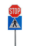 Crosswalk and stop road sign Royalty Free Stock Images