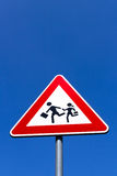 Crosswalk students. Road Sign of crosswalk of students, in vertical composition royalty free stock photo