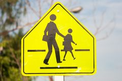Crosswalking. Crosswalk traffic sing in Thailand Stock Photography