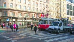 Crosswalk w Ringstrasse, Wiedeń, Austria zbiory wideo