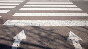 A crosswalk with a warm sunshine. royalty free stock images