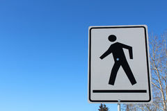 Crosswalk on a White Rectangle Sign Stock Photos