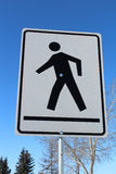 Crosswalk on a White Rectangle Sign Stock Images