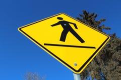 Crosswalk on a Yellow Diamond Sign Stock Photography
