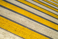 Crosswalk yellow lines on the road- pedestrian road crossing are Stock Photography