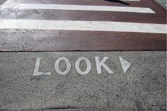 Crosswalk z spojrzeniem Zdjęcie Royalty Free