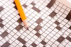 Crossword łamigłówka z ołówkiem obrazy royalty free