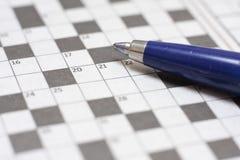 Crossword łamigłówka z piórem Obrazy Stock