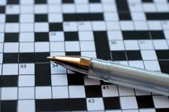 Crossword łamigłówka z piórem Obraz Stock