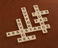 Crossword łamigłówka z słowami Wspiera, Pomaga, FAQ, pomoc Cust obraz stock