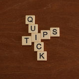 Crossword łamigłówka z słowo Szybkimi poradami Podróż przewdonika pojęcie zdjęcie royalty free
