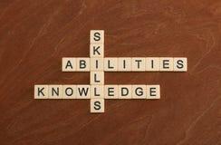 Crossword łamigłówka z słowo umiejętnościami, zdolność, wiedza Learni obraz stock