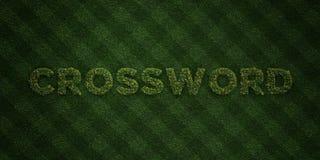 CROSSWORD - świezi trawa listy z kwiatami i dandelions - 3D odpłacający się królewskość bezpłatny akcyjny wizerunek Fotografia Royalty Free