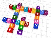 Crossword 10. 3d colour boxes crossword - motivate, leader, team, productive, vision Stock Photos