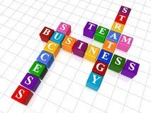 Crossword 11. 3d colour boxes crossword - business; strategy, success; team Stock Photos