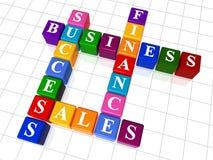 Crossword 12. 3d colour boxes crossword - business; success; finance, sales Royalty Free Stock Photos