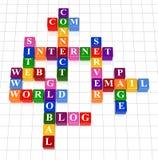 Crossword 17 - internet. 3d colour boxes crossword - internet; site; web; www; server, e-mail; page; connect; com; blog; world; global Royalty Free Illustration