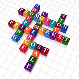 Crossword 20 - promotion. 3d colour cubes with text - shopping; promotion; price; sale; market; stock; commerce; cost royalty free illustration