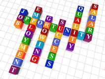 Crossword 24 - job opportunity. 3d colour cubes crossword - job; opportunity; employment; success, growing; quality, salary Royalty Free Stock Photography