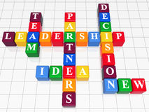 Crossword 3. 3d color boxes like crossword - leadership; team; partners; decision; idea; new Stock Image