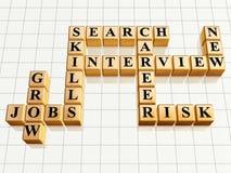 Crossword 4 golden. 3d golden cubes like crossword - jobs, interview, career, search, skills, grow, new, risk Royalty Free Stock Photo