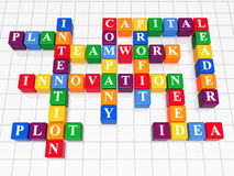 Crossword 5. 3d color boxes crossword - capital, teamwork, innovation, plan, plot, idea, intention, company, profit, need, leader Royalty Free Stock Photo