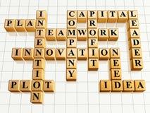 Crossword 5 golden. 3d golden cubes crossword - teamwork, innovation, leader, idea, plan, company, capital Royalty Free Stock Image