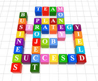 Crossword 6. 3d color boxes crossword - business; success; strategy; project; plan; job; team; money; yield Stock Image