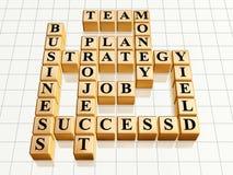 Crossword 6 golden. 3d golden cubes like crossword - business, success, strategy, plan, job, team, money Royalty Free Stock Photo