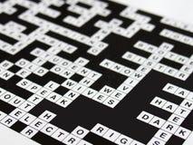 Crossword. Filled in crossword puzzle Stock Photo
