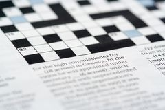 Crossword. A crossword puzzle (shallow dof Royalty Free Stock Photography