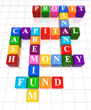 Crossword 7. 3d colour boxes crossword - money, finance, capital, cash, profit, fund, premium Royalty Free Stock Photo