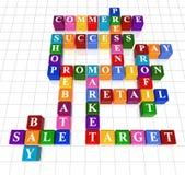 Crossword 9. 3d colour boxes crossword - sale; success; commerce; promotion; profit, market; rebate, bay, present, shop; retail; target, pay Royalty Free Stock Image