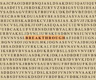 Crossword-breakthrough. BREAKTHROUGH spelled in Crossword puzzle stock images