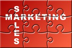 Crossword business puzzle. About marketing and sales Royalty Free Stock Photography