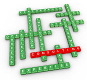 Crossword of consulting. 3d render of crossword related to word 'consulting stock illustration