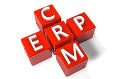 Crossword CRM ERP. 3D Render Crossword concept: Enterprise Resource Planning (ERP) and Customer Relationship Management (CRM Stock Photos