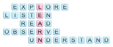 Crossword dla słowa uczy się Zdjęcie Royalty Free