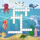 Crossword dzieciaków magazynu książki łamigłówki gra denna podwodna ocean ryba kolorowy printable Illu i zwierzęcia logiczny work ilustracja wektor