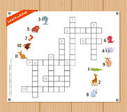 Crossword, education game for children about Animals Royalty Free Stock Images