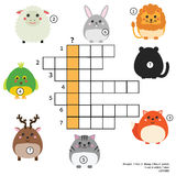 Crossword educational children game with answer. Animals theme. Learning vocabulary