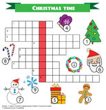 Crossword educational children game with answer. Christmas winter theme Royalty Free Stock Images