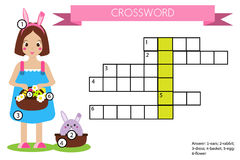 Crossword educational children game with answer. Easter theme Stock Image